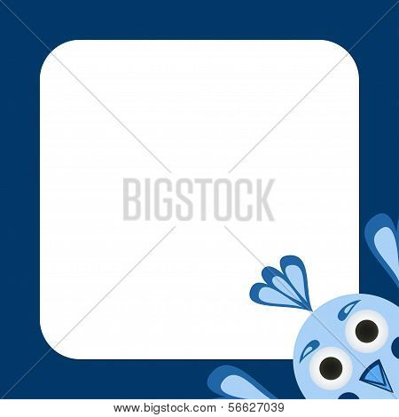 Vector Greeting Card With A Funny Blue Bird
