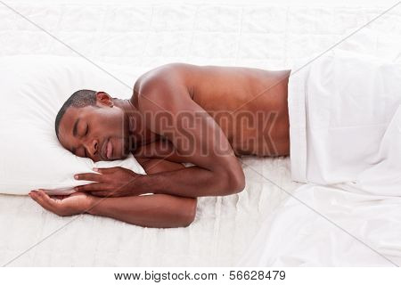 Sleeping Ethnic Black Afro-american Man