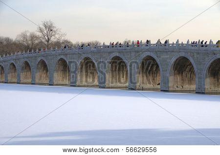 BEIJING, DECEMBER 29: Summer Palace Beijing with Kunming Lake and Bridge - December 29, 2011, Beijing, China