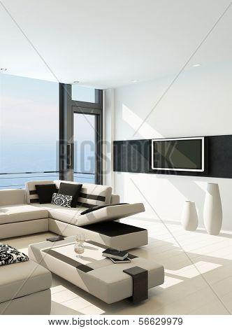 Interior branco moderna sala de estar com vista esplêndida paisagem