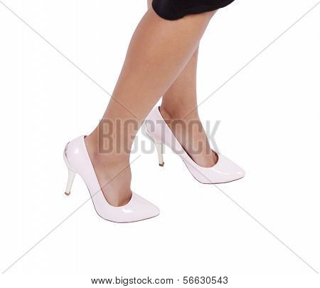 Woman wearing leather high heels stilettos shoes