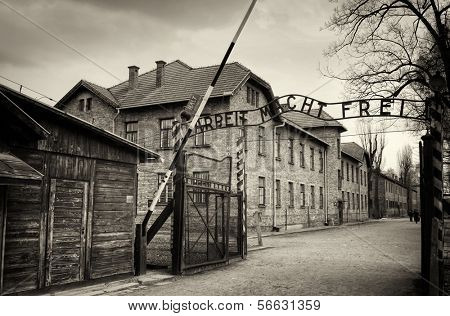Arbeit macht frei sign (Work liberates) in concentration camp Auschwitz, Poland