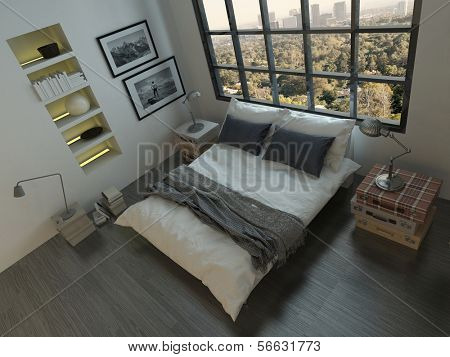Top view of king-size bed