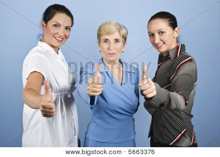 Successful  Business Women Giving Thumbs Up