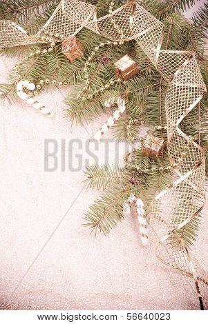 Gold Christmas Aged Ribbon