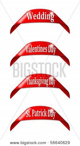 Red labels with the names of holidays - vector