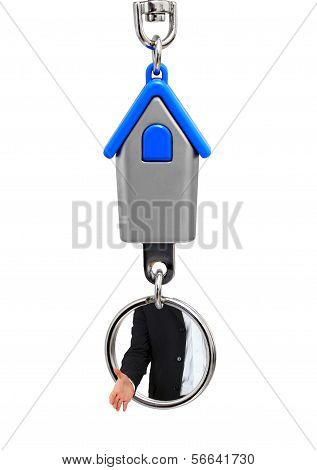 Keychain With Hands Of The Estate Agent