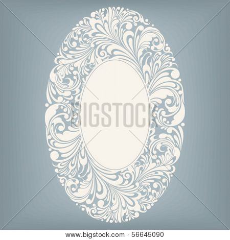 floral ornament design element in oval form, vector illustration