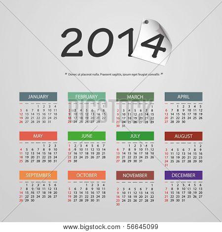 Calendar 2014 - Vector Illustration Design