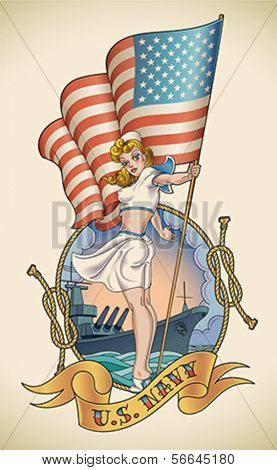 Old-school US Navy tattoo of a sensual pin-up lady with the flag in her hand. Editable vector illustration.