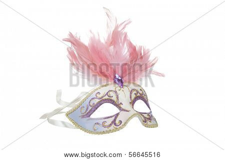 Beautiful carnival mask with pink feathers, isolated on white
