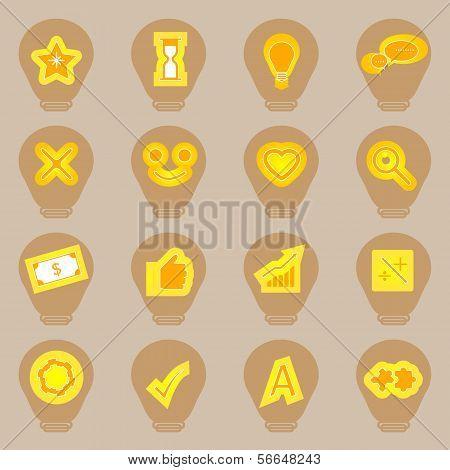 Idea Symbol Icons Sticker On Light Bulb Shape