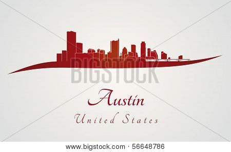 Austin Skyline In Red