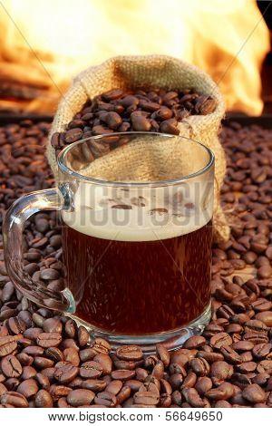 Glass coffee mug near fireplace XXXL