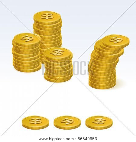 Gold Dollar Coin Stack Vector Icons