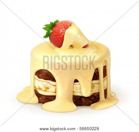 Cake with strawberry in white chocolate, detailed vector