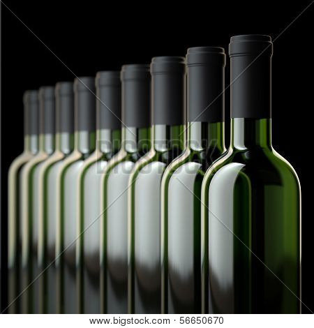 Red Wine Bottles In Wine Cellar Or In Liquor Store