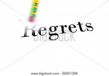 Person using a pencil eraser to erase regrets from their life so they can start new
