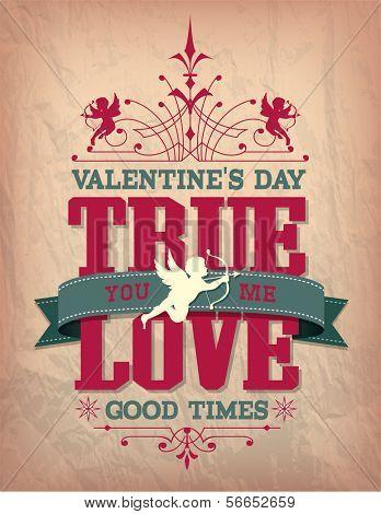 Valentine's Day type text calligraphic Valentine's headline with love