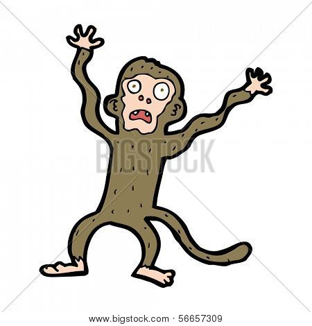 cartoon frightened monkey