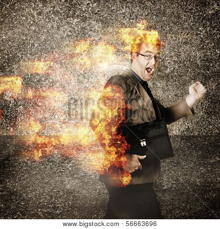 Crazy Businessman Running Engulfed In Fire. Late