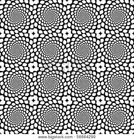 Design Seamless Monochrome Spiral Movement Snakeskin Pattern. Abstract Background In Op Art Style