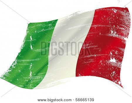 Italian flag with a texture in the wind
