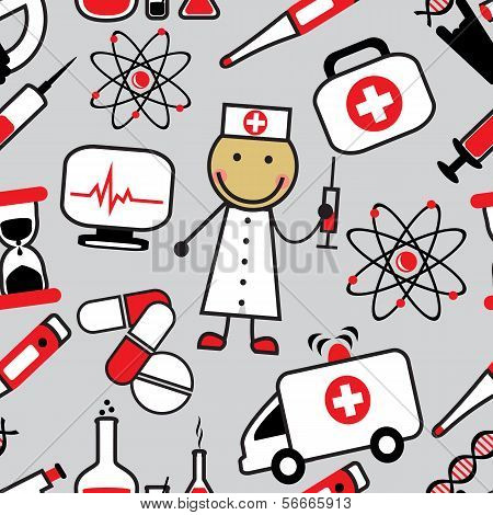 Cartoon seamless background with medical icons