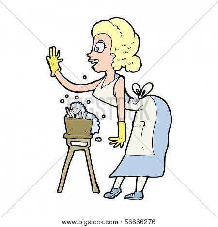 cartoon housewife washing up