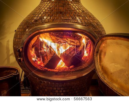 burning logs in a wood stove