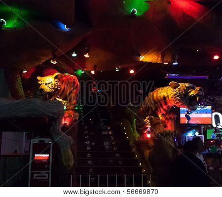 Patong, Thailand - April 26, 2012: Tiger Disco Complex At Night. Central Entrance