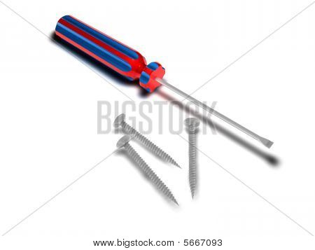 Red And Blue Screwdriver And Three Crews Width Shadows