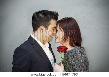 Young Couple Sharing A Tender Moment Together