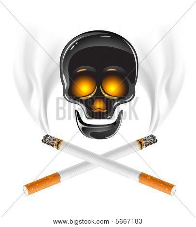 Ctross von Zigaretten mit Skull Gefahr Rauchen Konzept