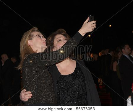 PALM SPRINGS - JAN 4:  Meryl Streep, Margo Martindale at the Palm Springs Film Festival Gala at Palm Springs Convention Center on January 4, 2014 in Palm Springs, CA