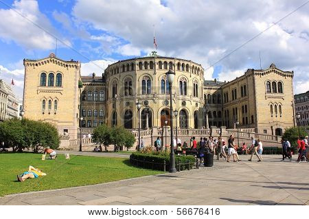 Parlament Building In Oslo, Norway.