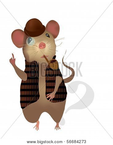 Sherlock Holmes Mouse. Vector of a Detective