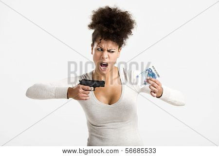 African woman shooting a euro banknote, great concept for the global crises