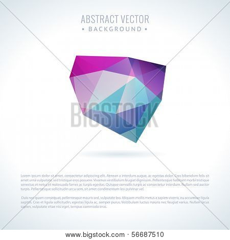 Abstract modern vector background with 3D triangle object