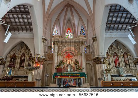 The Chancel Altar Area Of Saint Mary's Cathedral In Bangalore.