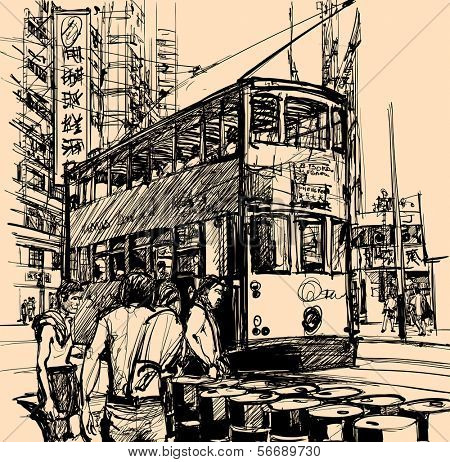 Vector illustration of a street in Hong Kong with a tramway (All texts, chinese characters, ads are purely fictitious)