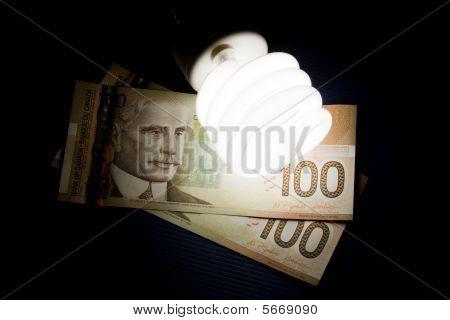 Compact Fluorescent Lightbulb And Dollar
