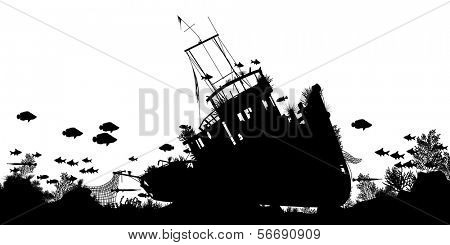 Editable vector silhouette foreground of coral and fish around a sunken boat with ship and fish as separate objects