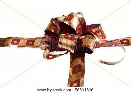 A Red Ribon Tied In A Bow Over A White Background
