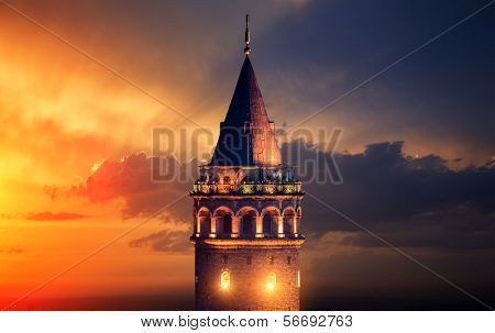 Galata Tower at Night in Istanbul Turkey