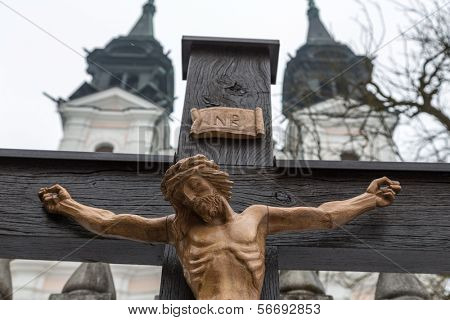jesus christ on the cross. symbolic photo for good friday, easter and resurrection. linz, upper austria, poestlingberg