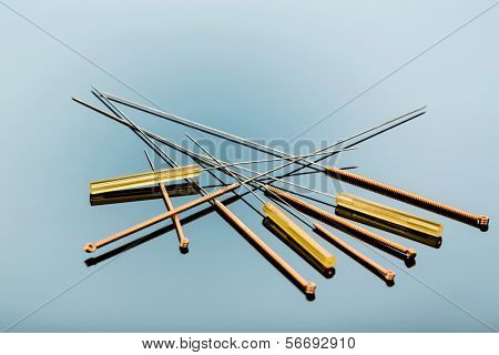 several needle for acupuncture are adjacent. traditional chinese medicine (alternative medicine).