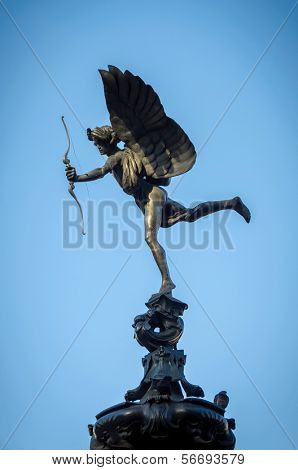 Eros Statue at Piccadilly Circus in London, UK