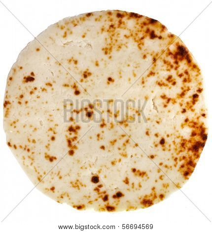 Karelian curd cheese top view surface isolated on white background