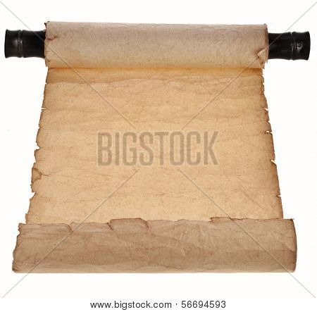 Ancient antique empty scroll isolated on white background